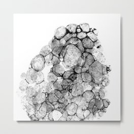 Watercolor abstract bubble splashing paint black gray ink isolated on white background Metal Print