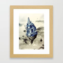 Blue town between the sky and the sea Framed Art Print