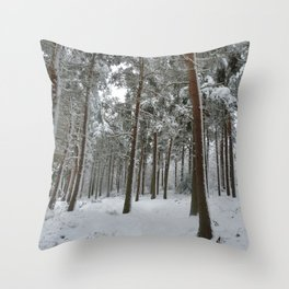 Snowy woodland Throw Pillow