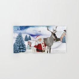 Christmas, Santa Claus with reindeer Hand & Bath Towel