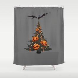 Halloween Christmas Tree - Gray Shower Curtain