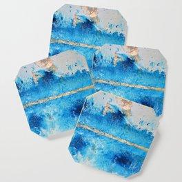 Rainy Day: a pretty minimal abstract mixed media piece in blue & gold by Alyssa Hamilton Art Coaster