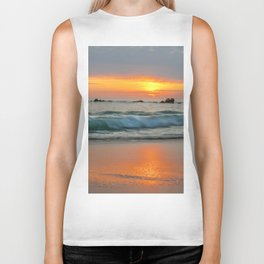 Golden sunset with turquoise waters Biker Tank