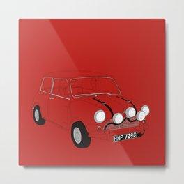 The Italian Job Red Mini Cooper Metal Print