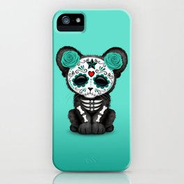 Teal Blue Day of the Dead Sugar Skull Panther Cub iPhone Case