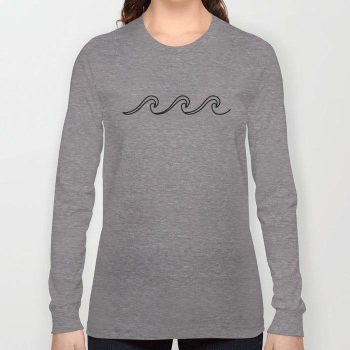 Rough Sea Pattern - black on white Long Sleeve T-shirt