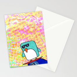 whoa dude, surfing penguin Stationery Cards