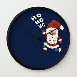 """Christmas """"HOHOHO"""" Slogan Santa Claus - Navy Blue Wall Clock"""