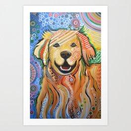 Max ... Abstract dog art, Golden Retriever, Original animal painting Art Print