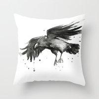 raven Throw Pillows featuring Raven by Olechka