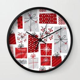 seamless christmas gift pattern Wall Clock
