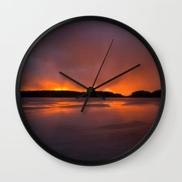 Sunset With Orange Sky Reflections On The Icy Lake #decor #society6 #homedecor #buyart Wall Clock