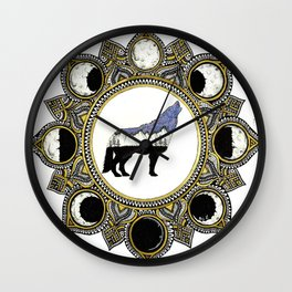 Double Exposure Wolf Howling at the Moon Mandala Wall Clock