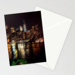 Manhattan City Lights Night Scene Landscape Painting by Jeanpaul Ferro Stationery Cards