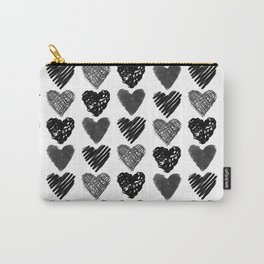 Doodle Hand-drawn Hearts in Black and White, Minimalist BW Heart Pattern, Minimal Artistic Design  Carry-All Pouch