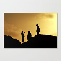 Hiking by sunset Canvas Print