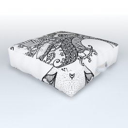 Unity of Halves - Life Tree - Rebirth - White Outdoor Floor Cushion