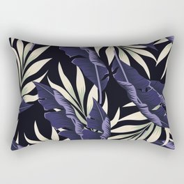 Original seamless tropical pattern with bright plants and leaves on a dark background. Exotic jungle wallpaper. Seamless exotic pattern with tropical plants. Rectangular Pillow