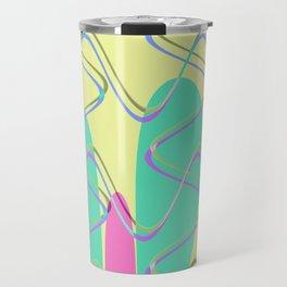 Nouveau Retro Graphic Pink Yellow and Green Travel Mug