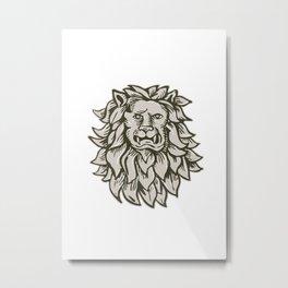 Angry Lion Big Cat Head Etching Metal Print