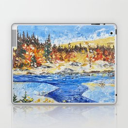 Landscape painting- The clear water River - by LiliFlore Laptop & iPad Skin