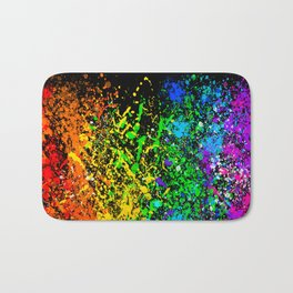 Black Rainbow Color Splatter Bath Mat
