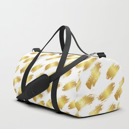 Abstract white faux gold artistic paint brushstrokes pattern Duffle Bag