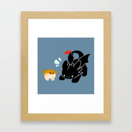 toothless and baby gronckle Framed Art Print