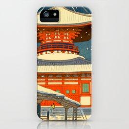 Asano Takeji Views of Wakayama Koyasan Nemoto Big Pagoda Japanese Woodblock print iPhone Case