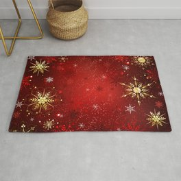 Red Background with Gold Snowflakes Rug