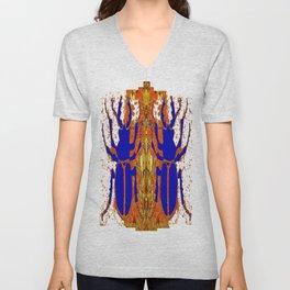 Lapis Blue Beetle on Gold Unisex V-Neck