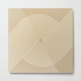 Geometric Lines in Beige 3 Metal Print