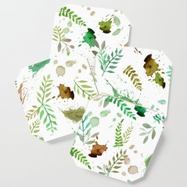Green Leaves, Paint Splatter, Pattern Coaster