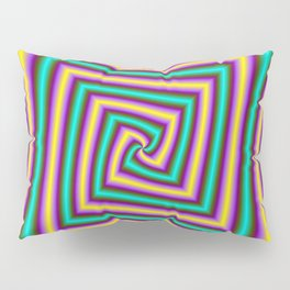 Angular Spiral in Violet Yellow and Turquoise Pillow Sham