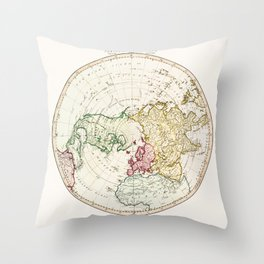 Northern Hemisphere- reproduction of William Faden's 1790 engraving Throw Pillow