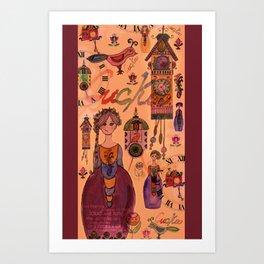 Cuckoo clock collage Art Print