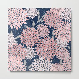 Floral Prints and Leaves, Navy Blue, Pink and Gray Metal Print