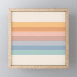 Pastel Retro Rainbow Stripes  Framed Mini Art Print