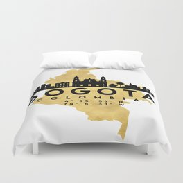 BOGOTA COLOMBIA SILHOUETTE SKYLINE MAP ART Duvet Cover