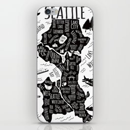 Seattle Illustrated Map in Black and White - Single Print iPhone Skin