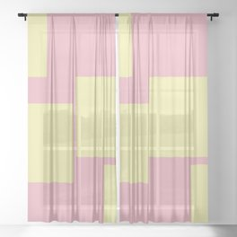 Pastel Yellow And Pink Squares Sheer Curtain