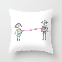Two Robots, Stuck Together with Gum Throw Pillow