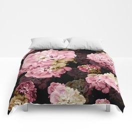 Rose pattern on dark background Comforters