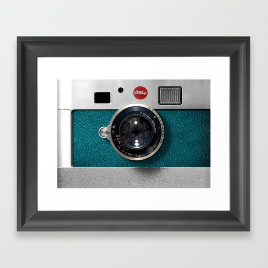 Blue Teal retro vintage camera with germany lens by digitalizedteam