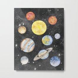 Watercolor Planets Metal Print