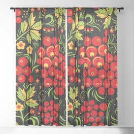Red berry ornament khokhloma Sheer Curtain