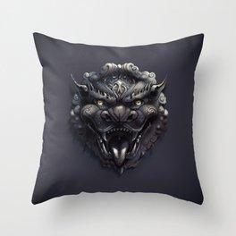 Foo Lion Dog Mask Throw Pillow