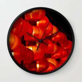 Vibrant red Chinese lanterns Wall Clock