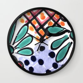 Colorful Talavera, Yellow Accent, Mexican Tile Design Wall Clock