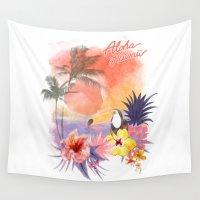 aloha Wall Tapestries featuring aloha by ulas okuyucu
